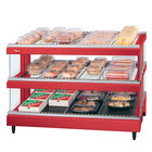 Hatco GR3SDS-39D Warm Red Glo-Ray 39 inch Slated Double Shelf Heated Glass Merchandising Warmer