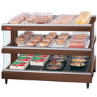 Hatco GR3SDS-39D Antique Copper Glo-Ray 39 inch Slated Double Shelf Heated Glass Merchandising Warmer - 120/208V