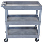 "Luxor EC111-G Gray Three Tub Shelf Utility Cart - 18"" x 35 1/4"" x 36 1/4"""