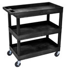Luxor EC111-B Black Three Tub Shelf Utility Cart - 18 inch x 35 1/4 inch x 36 1/4 inch