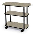 Geneva 36100 Rectangular 3 Shelf Laminate Tableside Service Cart with Beige Suede Finish - 16