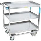 Lakeside 744 Heavy Duty Stainless Steel 3 Shelf Utility Cart - 22 3/8 inch x 38 5/8 inch x 37 1/8 inch
