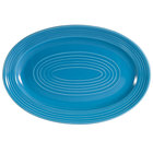 CAC TG-14-PCK Tango 13 5/8 inch x 9 3/8 inch Peacock Oval Platter - 12/Case