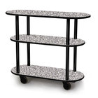 Geneva 36200-01 Oval 3 Shelf Laminate Table Side Service Cart with Gray Sand Finish - 16 inch x 42 3/8 inch x 35 1/4 inch