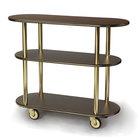Geneva 36200-11 Oval 3 Shelf Laminate Table Side Service Cart with Mahogany Finish - 16 inch x 42 3/8 inch x 35 1/4 inch