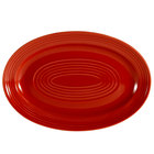 CAC TG-13-R Tango 11 3/4 inch x 8 inch Red Oval Platter - 12/Case