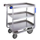 Lakeside 722 Heavy Duty Stainless Steel 3 Shelf Utility Cart - 19 3/8 inch x 32 5/8 inch x 35 1/2 inch
