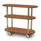 Geneva 36200-02 Oval 3 Shelf Laminate Table Side Service Cart with Victorian Cherry Finish - 16 inch x 42 3/8 inch x 35 1/4 inch