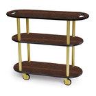 Geneva 36204 Oval 3 Shelf Laminate Table Side Service Cart with Handle Cutouts and Mahogany Finish - 16