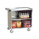 Lakeside 644BS 3 Shelf Medium Duty Stainless Steel Utility Cart with Enclosed Base and Beige Suede Finish - 22 1/2 inch x 39 1/4 inch x 37 3/8 inch