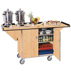 Lakeside 675 Stainless Steel Drop-Leaf Beverage Service Cart with 3 Shelves and Hard Rock Maple Finish - 44 1/4