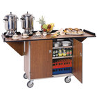 Lakeside 675 Stainless Steel Drop-Leaf Beverage Service Cart with 3 Shelves and Victorian Cherry Finish - 44 1/4 inch x 24 inch x 38 1/4 inch