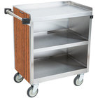 Lakeside 822VC 3 Shelf Heavy Duty Stainless Steel Utility Cart with Enclosed Base and Victorian Cherry Finish - 19 1/2 inch x 31 1/4 inch x 34 1/2 inch