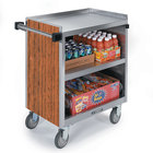 Lakeside 844 3 Shelf Heavy Duty Stainless Steel Utility Cart with Enclosed Base and Victorian Cherry Finish - 22 1/2 inch x 39 5/16 inch x 37 inch