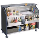 Lakeside 887B 63 1/2 inch Stainless Steel Portable Bar with Black Laminate Finish, 2 Removable 7-Bottle Speed Rails, and 40 lb. Ice Bin