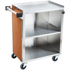 Lakeside 610VC 3 Shelf Standard Duty Stainless Steel Utility Cart with Enclosed Base and Victorian Cherry Finish - 16 1/2 inch x 27 3/4 inch x 32 3/4 inch