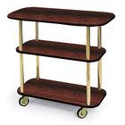 Geneva 36104 Rectangular 3 Shelf Laminate Tableside Service Cart with Handle Cutouts and Red Maple Finish - 16
