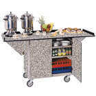 Lakeside 675 Stainless Steel Drop-Leaf Beverage Service Cart with 3 Shelves and Gray Sand Finish - 44 1/4 inch x 24 inch x 38 1/4 inch