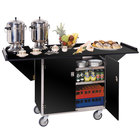 Lakeside 675 Stainless Steel Drop-Leaf Beverage Service Cart with 3 Shelves and Black Laminate Finish - 44 1/4 inch x 24 inch x 38 1/4 inch