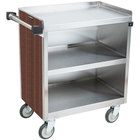 Lakeside 822W 3 Shelf Heavy Duty Stainless Steel Utility Cart with Enclosed Base and Walnut Finish - 19 1/2 inch x 31 1/4 inch x 34 1/2 inch