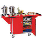 Lakeside 675 Stainless Steel Drop-Leaf Beverage Service Cart with 3 Shelves and Red Finish - 44 1/4 inch x 24 inch x 38 1/4 inch