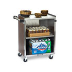 Lakeside 610 3 Shelf Standard Duty Stainless Steel Utility Cart with Enclosed Base and Walnut Finish - 16 1/2 inch x 27 3/4 inch x 32 3/4 inch