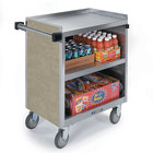 Lakeside 844 3 Shelf Heavy Duty Stainless Steel Utility Cart with Enclosed Base and Beige Suede Finish - 22 1/2 inch x 39 5/16 inch x 37 inch