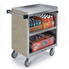 Lakeside 822 3 Shelf Heavy Duty Stainless Steel Utility Cart with Enclosed Base and Beige Suede Finish - 19 1/2 inch x 31 1/4 inch x 34 1/2 inch