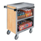 Lakeside 844HRM 3 Shelf Heavy Duty Stainless Steel Utility Cart with Enclosed Base and Hard Rock Maple Finish - 22 1/2 inch x 39 5/16 inch x 37 inch