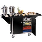 Lakeside 675 Stainless Steel Drop-Leaf Beverage Service Cart with 3 Shelves and Black Vinyl Finish - 44 1/4 inch x 24 inch x 38 1/4 inch