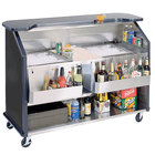 Lakeside 884B 63 1/2 inch Stainless Steel Portable Bar with Black Laminate Finish, 2 Removable 7-Bottle Speed Rails, and 2 40 lb. Ice Bin