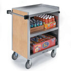Lakeside 822 3 Shelf Heavy Duty Stainless Steel Utility Cart with Enclosed Base and Light Maple Finish - 19 1/2 inch x 31 1/4 inch x 34 1/2 inch