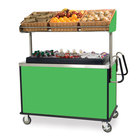 Lakeside 668 Stainless Steel Vending Cart with Insulated Polyethylene Ice Bin, Overhead Shelf, and Green Finish - 28 1/2 inch x 54 3/4 inch x 67 inch