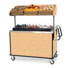 Lakeside 668 Stainless Steel Vending Cart with Insulated Polyethylene Ice Bin, Overhead Shelf, and Hard Rock Maple Finish - 28 1/2 inch x 54 3/4 inch x 67 inch