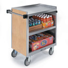 Lakeside 822 3 Shelf Heavy Duty Stainless Steel Utility Cart with Enclosed Base and Hard Rock Maple Finish - 19 1/2 inch x 31 1/4 inch x 34 1/2 inch