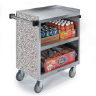 Lakeside 822 3 Shelf Heavy Duty Stainless Steel Utility Cart with Enclosed Base and Gray Sand Finish - 19 1/2 inch x 31 1/4 inch x 34 1/2 inch