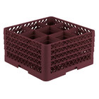 Vollrath TR10FFFF Traex® Full-Size Burgundy 9-Compartment 9 7/16 inch Glass Rack