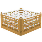Vollrath 52770 Signature Full-Size Gold 16-Compartment 9 1/16 inch XX-Tall Plus Glass Rack