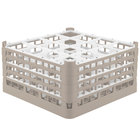Vollrath 52770 Signature Full-Size Beige 16-Compartment 9 1/16 inch XX-Tall Plus Glass Rack