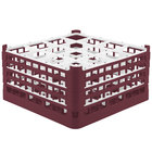 Vollrath 52770 Signature Full-Size Burgundy 16-Compartment 9 1/16 inch XX-Tall Plus Glass Rack