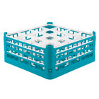 Vollrath 52769 Signature Full-Size Light Blue 16-Compartment 7 11/16 inch X-Tall Plus Glass Rack