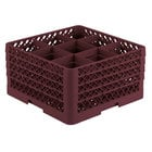 Vollrath TR10FFFA Traex® Full-Size Burgundy 9-Compartment 9 7/16 inch Glass Rack with Open Rack Extender On Top