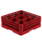 Vollrath TR10FF Traex® Full-Size Red 9-Compartment 6 3/8 inch Glass Rack