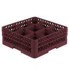 Vollrath TR10FF Traex® Full-Size Burgundy 9-Compartment 6 3/8 inch Glass Rack
