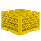Vollrath TR18JJJJA Traex® Rack Max Full-Size Yellow 12-Compartment 11 inch Glass Rack with Open Rack Extender On Top