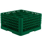 Vollrath TR18JJJA Traex® Rack Max Full-Size Green 12-Compartment 9 7/16 inch Glass Rack with Open Rack Extender On Top