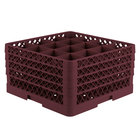 Vollrath TR8DDDA Traex® Full-Size Burgundy 16-Compartment 9 7/16 inch Glass Rack with Open Rack Extender On Top