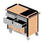 Lakeside 69030HRM Stainless Steel Beverage Service Cart with 3 Drawers and Hard Rock Maple Laminate Finish - 26 inch x 44 1/2 inch x 37 3/4 inch