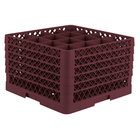 Vollrath TR8DDDDA Traex® Full-Size Burgundy 16-Compartment 11 inch Glass Rack with Open Rack Extender On Top