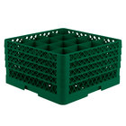 Vollrath TR8DDDA Traex Full-Size Green 16-Compartment 9 7/16 inch Glass Rack with Open Rack Extender On Top